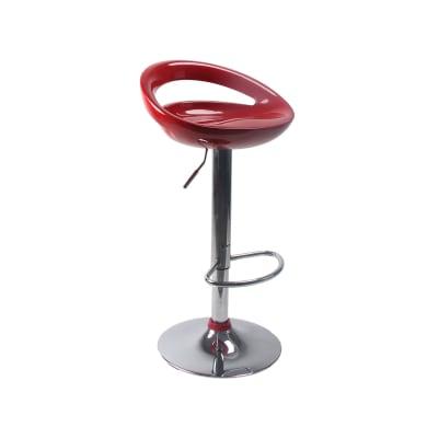 Sgabello Seattle seduta in plastica rosso base in acciaio