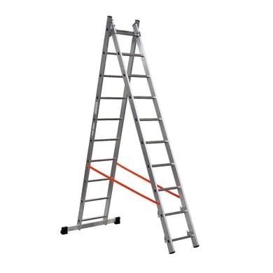 Scala a sfilo GIERRE Professional 2 rampe in alluminio 2x10 gradini per lavori fino a 5.4 m