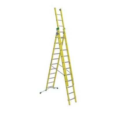 Scala a sfilo FACAL Vetroprima 3 rampe in fibra di vetro 3x12 gradini per lavori fino a 9.9 m