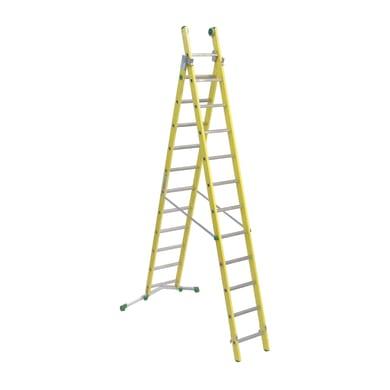 Scala a sfilo FACAL Vetroprima 2 rampe in fibra di vetro 2x12 gradini per lavori fino a 7.2 m