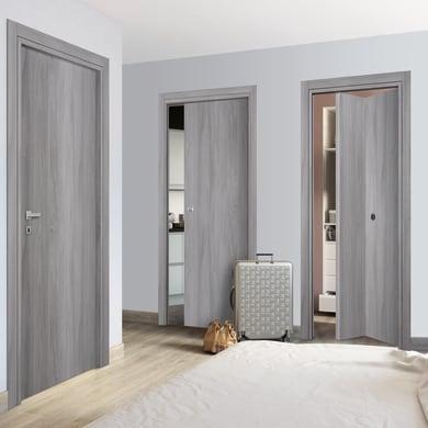 Porta a battente Gray ELM olmo grigio L 80 x H 210 cm reversibile
