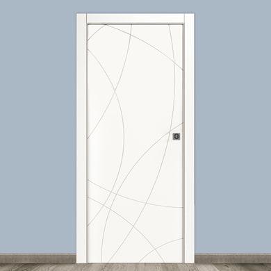 Porta scorrevole a scomparsa Sign bianco L 90 x H 210 cm reversibile