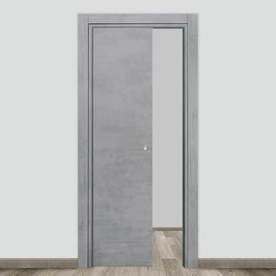 Porta scorrevole a scomparsa Naos cemento L 90 x H 210 cm reversibile