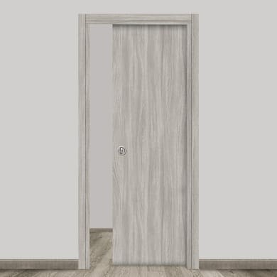 Porta scorrevole a scomparsa Braque grigio L 90 x H 210 cm reversibile