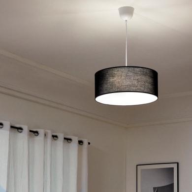 Lampadario Moderno Sitia nero in tessuto, D. 48 cm, L. 129 cm, 3 luci, INSPIRE