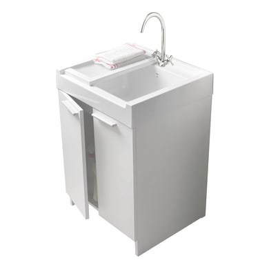 Mobile lavanderia Evo bianco e alluminio L 60 x P 50 x H 84 cm