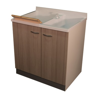 Mobile lavanderia Plus bianco e larice L 80 x P 60 x H 85 cm