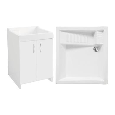 Mobile lavanderia Axis bianco e alluminio L 60 x P 50 x H 86 cm