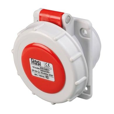 Presa industriale ROSI Incasso IP67 32 A bianco e rosso