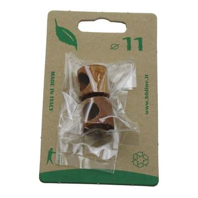 Finale per bastone Zip cilindro in legno Ø11mm ciliegio verniciato Set di 2 pezzi