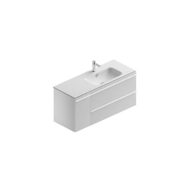 Mobile bagno Linea base laccata bianco opaco, lavabo mineral bianco opaco L 119.5 cm