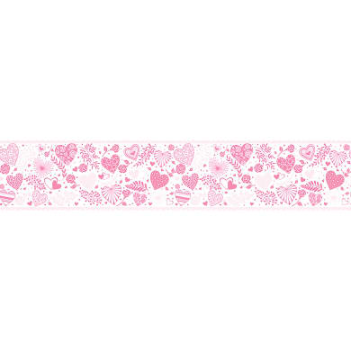 Bordo BORDO ADESIVO CUORI LOVE H13 X 5MT rosa 13 cm x 5 m