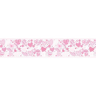 Bordo BORDO ADESIVO CUORI LOVE H13 X 5MT rosa 5 cm x 13 m