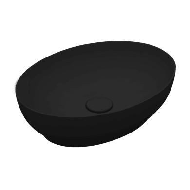 Lavabo da appoggio ovale LAVABO OVALE 50X38 in ceramica L 50 x P 20 x H 14 cm nero
