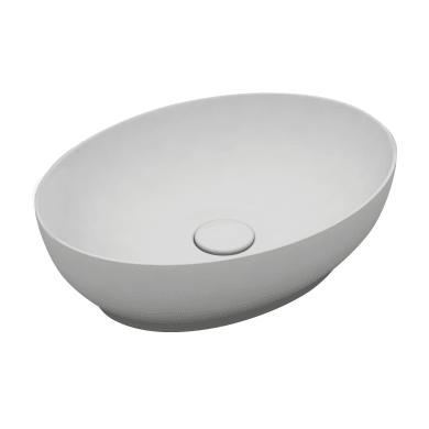 Lavabo da appoggio ovale LAVABO OVALE 50X38 in ceramica L 50 x P 20 x H 14 cm bianco