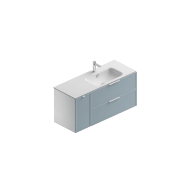 Mobile bagno Quadra struttura bianco opaco - frontali cielo opaco L 119.5 cm