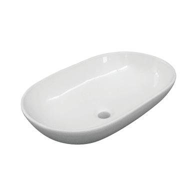 Lavabo free-standing da appoggio ovale Eolian in porcellana L 60 x P 39.5 x H 20 cm bianco