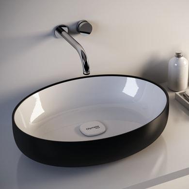 Lavabo da appoggio ovale Metamorfosi in ceramica L 55 x P 42 x H 14 cm bianco e nero