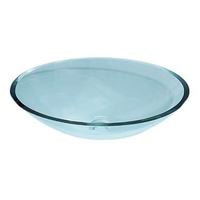 Lavabo da appoggio ovale Acqua in vetro L 51 x P 37 x H 14 cm trasparente