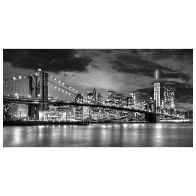 Quadro su tela Ponte di Brooklyn in bianco e nero 145x75 cm