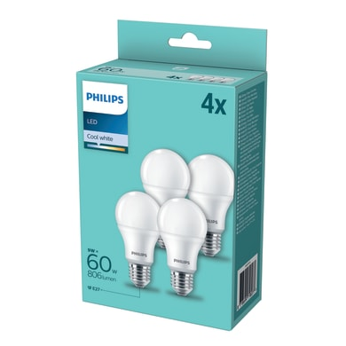Set di 4  lampadine LED, E27, Goccia, Opaco, Luce naturale, 9W=806LM (equiv 60 W), 200° , PHILIPS