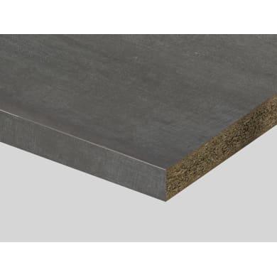 Piano di lavoro in truciolato laminato grigio tessuto L 250 x P 60 cm, spessore 3.9 cm