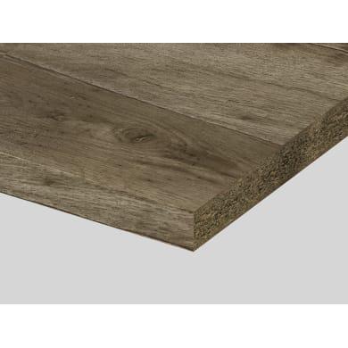 Piano di lavoro in truciolato laminato rovere naturale nodato L 250 x P 60 cm, spessore 3.9 cm