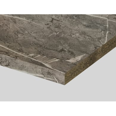 Piano di lavoro in truciolato laminato marmo cheope opaco L 200 x P 60 cm, spessore 3.9 cm