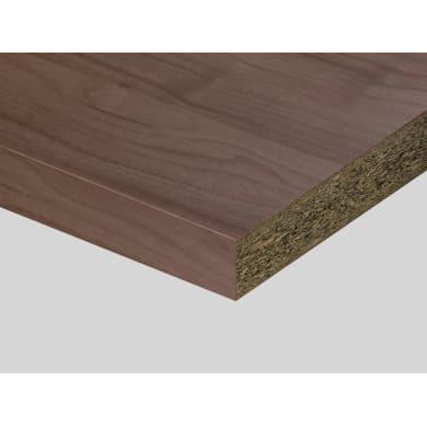 Piano di lavoro in truciolato laminato noce ambassador L 200 x P 60 cm, spessore 3.9 cm