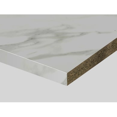 Piano di lavoro in truciolato laminato marmo canova L 200 x P 60 cm, spessore 3.9 cm