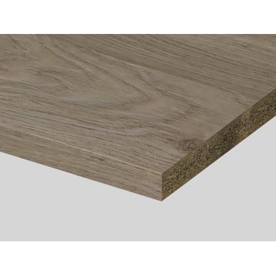 Piano di lavoro in truciolato laminato rovere stone L 200 x P 60 cm, spessore 3.9 cm