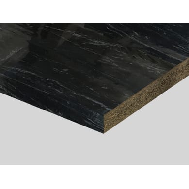 Piano di lavoro in truciolato laminato marmo nero lucido L 250 x P 60 cm, spessore 3.9 cm