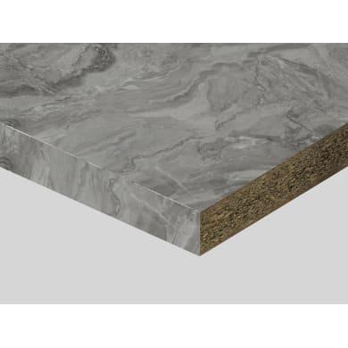 Piano di lavoro in truciolato laminato marmo paladino chiaro L 250 x P 60 cm, spessore 3.9 cm