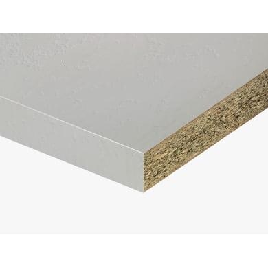 Piano di lavoro in truciolato laminato bianco cliff L 250 x P 60 cm, spessore 3.8 cm
