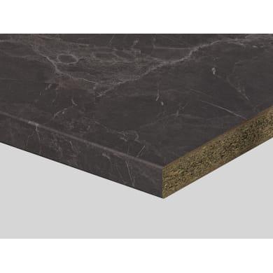 Piano di lavoro in truciolato laminato pietra grigia venata L 250 x P 60 cm, spessore 3.9 cm