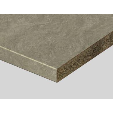 Piano di lavoro in truciolato laminato pietra sabbia L 250 x P 60 cm, spessore 3.9 cm