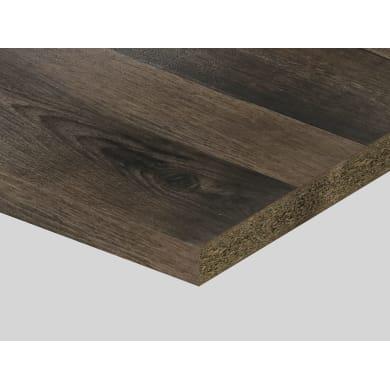 Piano di lavoro in truciolato laminato rovere scuro nodato L 200 x P 60 cm, spessore 3.9 cm