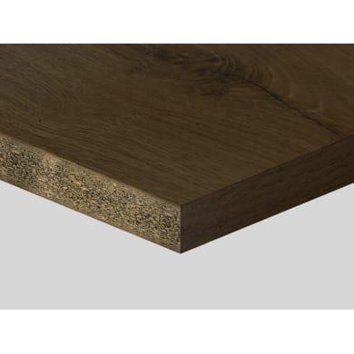 Piano di lavoro in truciolato laminato rovere cognac L 200 x P 60 cm, spessore 3.8 cm