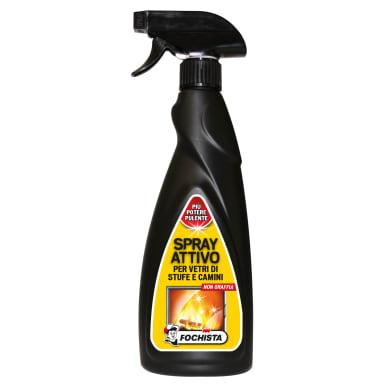 Pulitore Spray attivo per vetri di stufe e camini Spray 500 ml nero