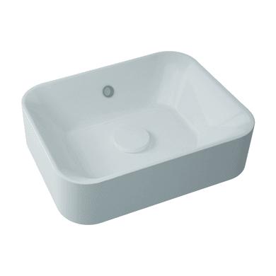 Lavabo free-standing da appoggio rettangolare Capsule in resina L 48 x P 38 x H 13.2 cm bianco