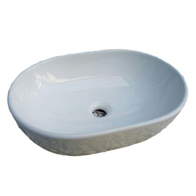 Lavabo da appoggio ovale Chiure in ceramica L 58 x P 40 x H 14 cm bianco