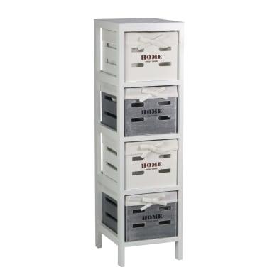 Cassettiera 4 cassetti L 25 x P 90 x H 29 cm grigio / argento