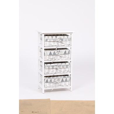 Cassettiera Agua 4 cassetti L 40 x P 73 x H 29 cm bianco