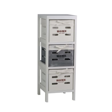 Cassettiera 3 cassetti L 25 x P 70 x H 29 cm grigio / argento