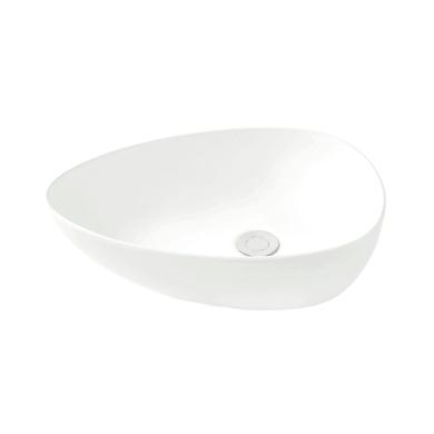Lavabo free-standing da appoggio triangolare Eolian in porcellana L 47 x P 35 x H 18 cm bianco