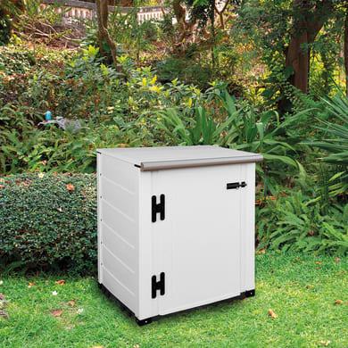 Baule da giardino GAROFALO Box Evo Flat 80 in pvc struttura doghe/coperchio avorio 82.5 x 82.5 cm