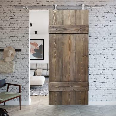 Porta scorrevole con binario esterno Barn Ebano in legno verniciato Kit Toledo L 86 x H 215 cm