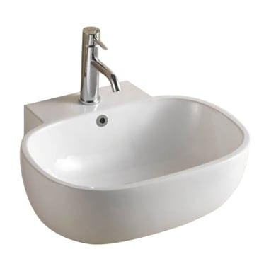 Lavabo da appoggio ovale Nacala in ceramica L 54 x P 47 x H 19 cm bianco