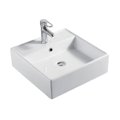 Lavabo da appoggio quadrato Edge in ceramica L 46 x P 46 x H 14.5 cm bianco