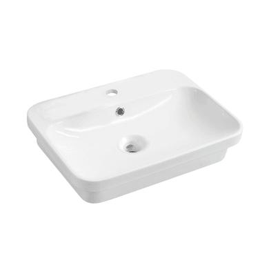 Lavabo da appoggio rettangolare Pier in ceramica L 55 x P 43 x H 14 cm bianco